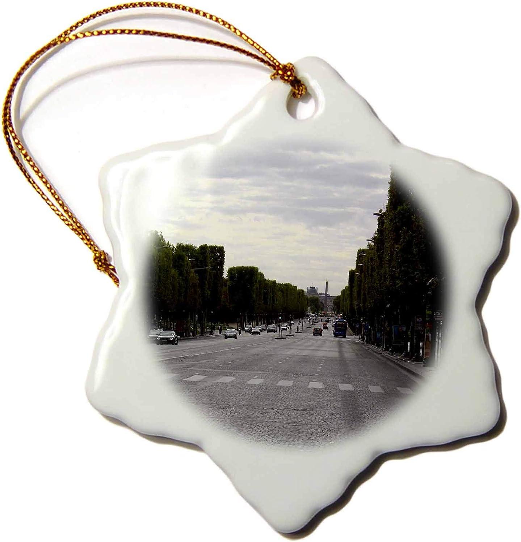 3dRose Lenas Photos - Paris - Taking a Stroll Down The Champs Elysses - Ornaments (ORN_38318_1)