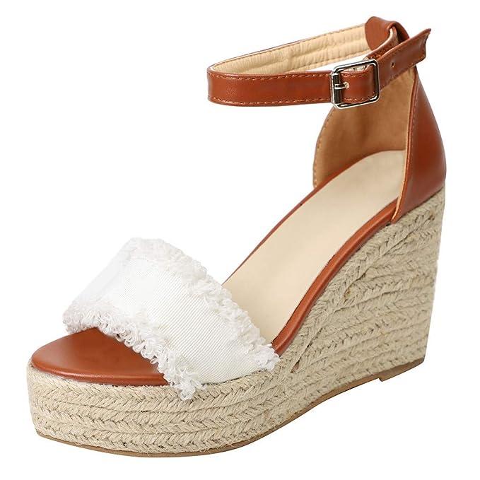 sandalias de con cuña verano Elegantes bajas mujer para fg7yYbm6vI