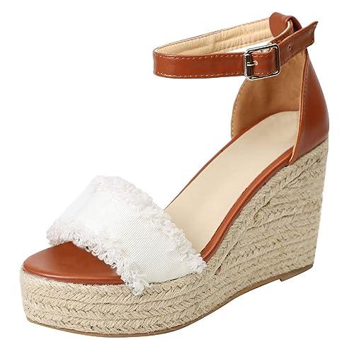 bb37bd2bf8721 Logobeing Sandalias Mujer Zapatos Planas Casual Cuña Hebilla de Tela Correa  Tacón Alto Plataforma Zapatos Peep