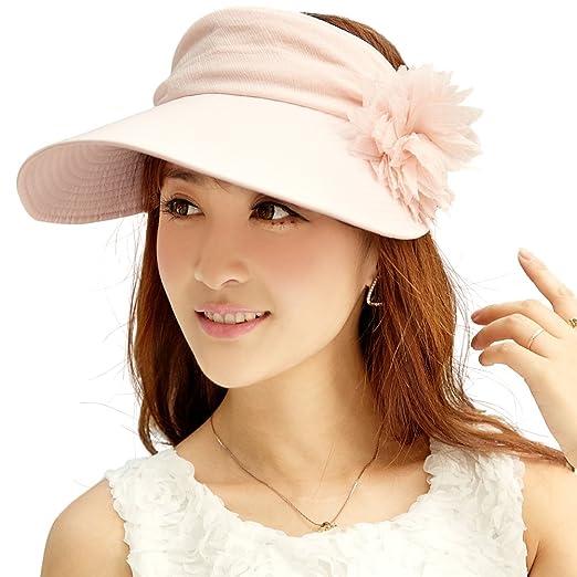 Siggi Womens Wide Brim Visor Cap Packable Linen Summer Sun Hat UPF50 Free  Size Pink 9d8ff35641b