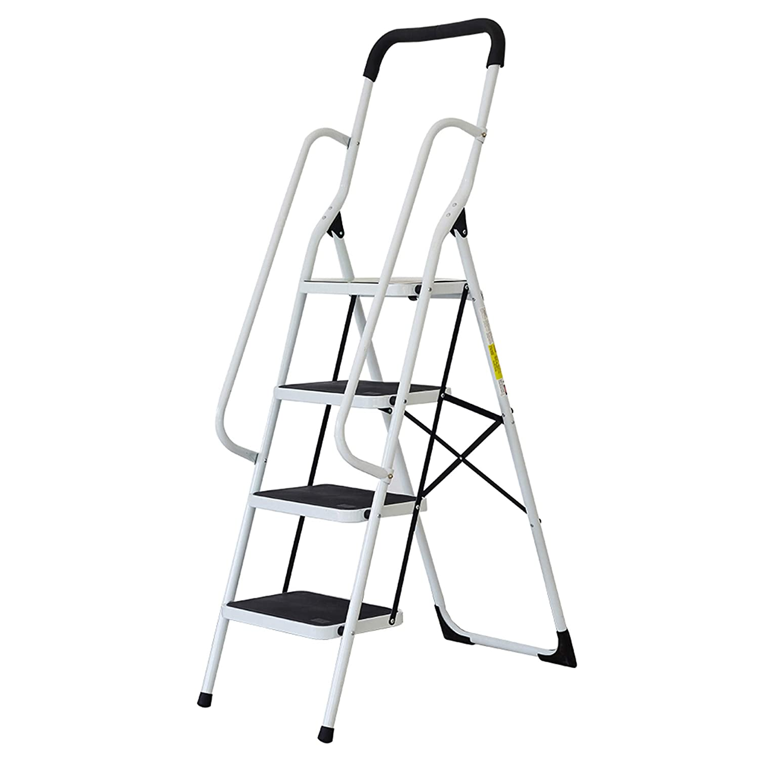 Lucky Tree Folding Step Ladder 4 Step Non-Slip Safety Step Stool with Side Handrails and Large Pedal Kitchen and Home Stepladder, 330 lbs Capacity