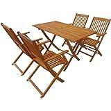 Festnight Set 5 pz di Mobili Set di Tavolo e Sedie Pieghevoli in Legno di Acacia da Pranzo da Giardino Patio Balcone per Esterno