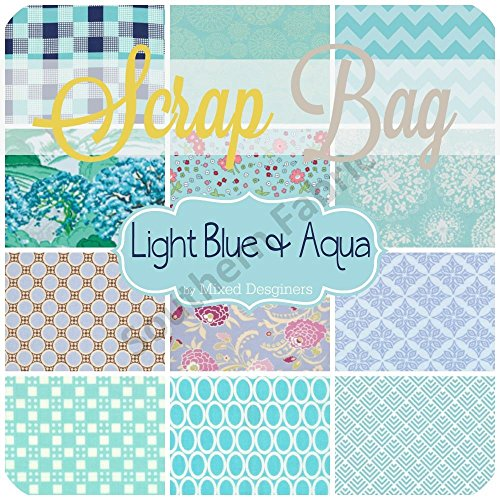 Southern Fabric Light Blue Aqua Scrap Bag (approx 2 yards) by Mixed Designers DIY quilt fabric