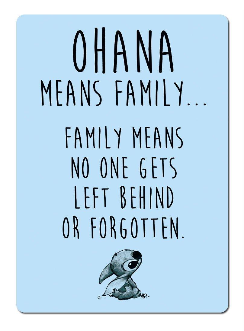 Ohana Signifie Famille –  Bleu. plaque murale en mé tal Dé coration murale Motivante. Lilo Stitch Lopo