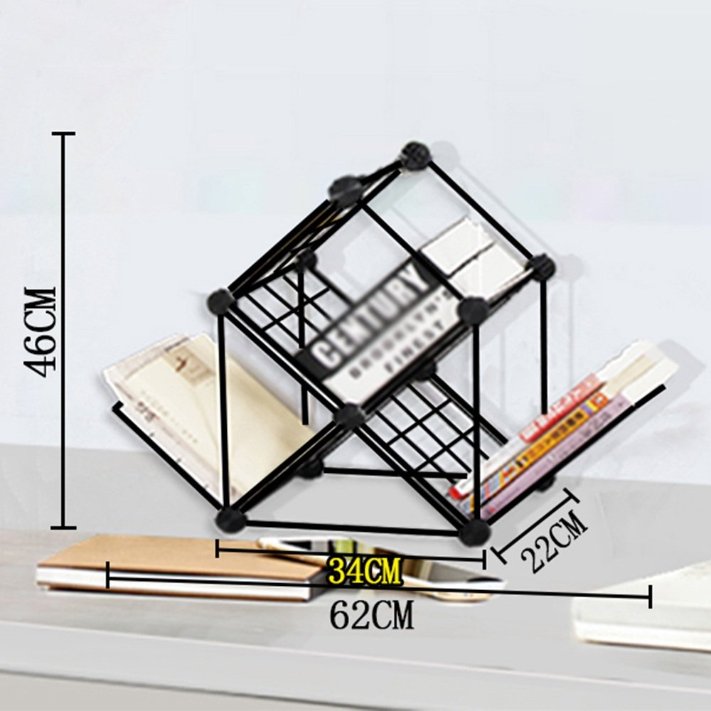 QHD Árbol Libros, Combinado de Hierro Forjado, niños, Rejilla, estantería, Libros, Árbol Acabado, Estante de Almacenamiento, Negro librero (Tamaño : 62  22  74cm) c6d90c