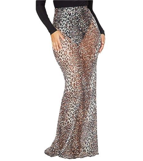 c4f2d998719694 Women High Waist Leopard Print See-Through Mermaid Bodycon Hip Package Long  Maxi Skirt at Amazon Women's Clothing store: