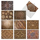 M6459TYG Woodworks: 10 Assorted Thank You Note Cards Featuring Beautifully Carved and Intricately Detailed Images of Wooden Treatments, w/White Envelopes.