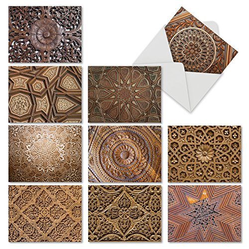 Woodworks: 10 Assorted Blank All-Occasion Note Cards Featuring Beautifully Carved and Intricately Detailed Images of Wooden Treatments, w/White Envelopes. M6459OCB