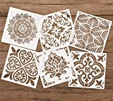 #5: Premium Quality Reusable Stencils Set of 6 (6x6 inch) Laser Cut Painting Stencil Floor Wall Tile Fabric Wood Stencils (White)