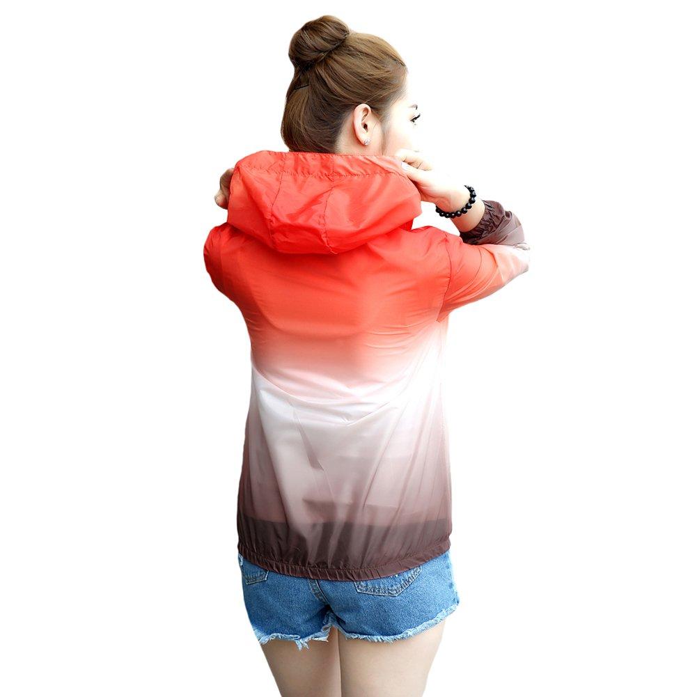 Tortor 1Bacha Womens Gradational Print Hooded Windbreaker UV Sun Protection Jacket F807-US