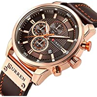 Men Leather Strap Military Watches Men's Chronograph Waterproof Sport Wrist Date Quartz Wristwatch (Rose Gold & Brown)