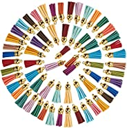 Juvale - Llavero de borla de piel sintético (100 piezas, 20 colores), 3.81 cm, 1