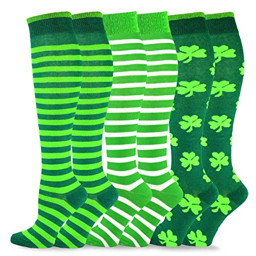 TeeHee St. Patricks Day Cotton Knee High Socks for Women 3-Pack (Stripes)