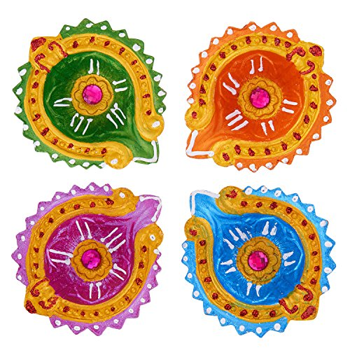 Set of 4 Diwali Decorations Colorful Oil Lamp Diya For Pooja/Puja Home Decor (Multicolor1) (Multicolor1) by Simply Indian