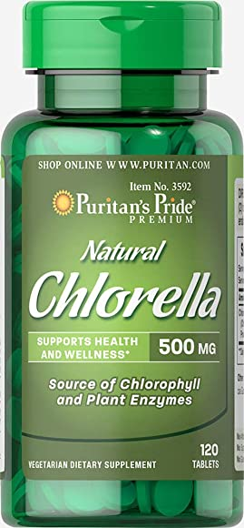 Puritan s Pride Natural Chlorella 500 mg-120 Tablets