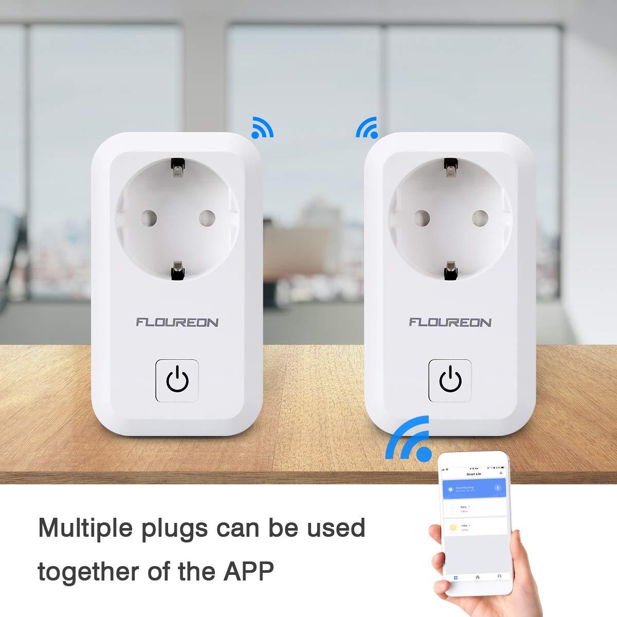 FLOUREON WLAN Smart Steckdose, Wifi Plug, Smart Home Fernbedienung für iOS Android App, Kompatibel mit Amazon Alexa Echo Google Home (2 Pack)