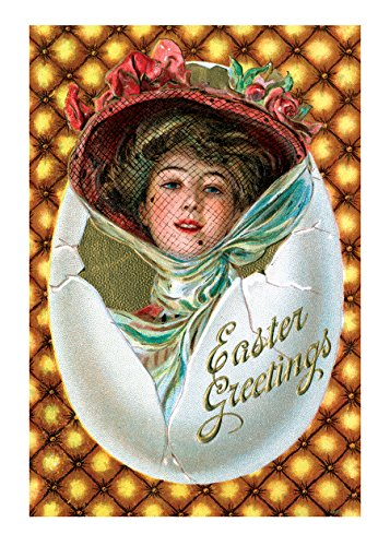 Easter Postcard (Woman with Hat in Egg Easter Greetings Postcard. 6 cards, individually bagged with envelopes (Greeting Card-Easter))