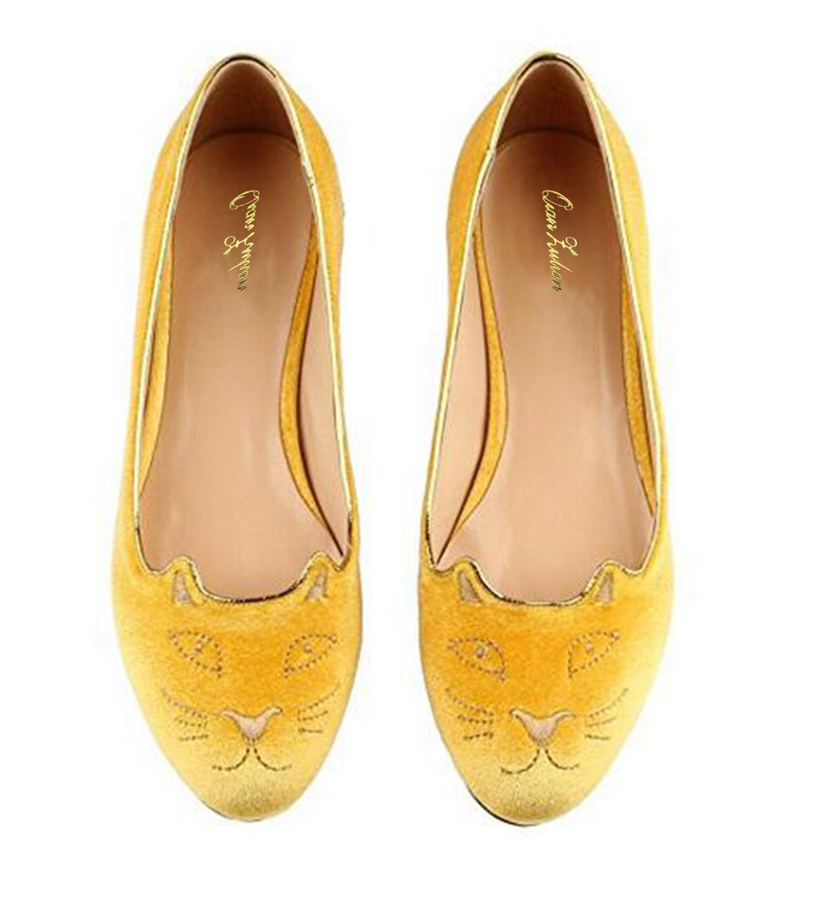 QianZuLian Womens Flats Cat Shape Pumps Round head Slip On Dress Shoes Comfort for Home Leisure On foot B0757P183S 11.5 B(M) US|Yellows