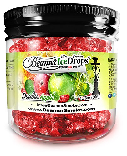 Double Apple 50G Ultra Premium Beamer Ice Drops Hookah Shisha Smoking Gel. Each bowl lasts 2-4 Hours! USA Made, Huge Clouds, Amazing Taste! Better Taste & Clouds than Tobacco!
