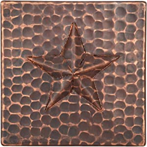 Premier Copper Products T4DBS 4-Inch by 4-Inch Copper Star Tile, Oil Rubbed Bronze