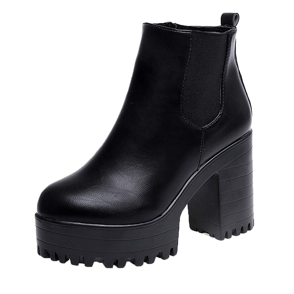 Women Chunky Heel Ankle Boots Slip on Platform Boots Zipper up High Heel Chelsea Boots Pump Boots Shoes (Black, US:6.5) by Aritone - Shoes