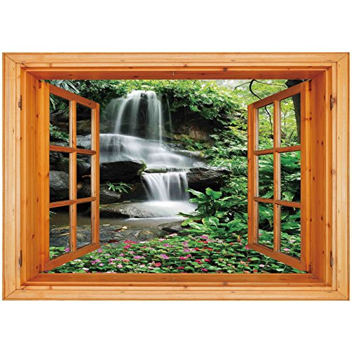 3D Depth Illusion Vinyl Wall Decal Sticker [ Waterfall,Waterfall Pond Flowers Tropical Plants Majestic Fresh Jungle Garden,Green Dark Brown White ] Window Frame Style Home Decor Art Removable Wall ()