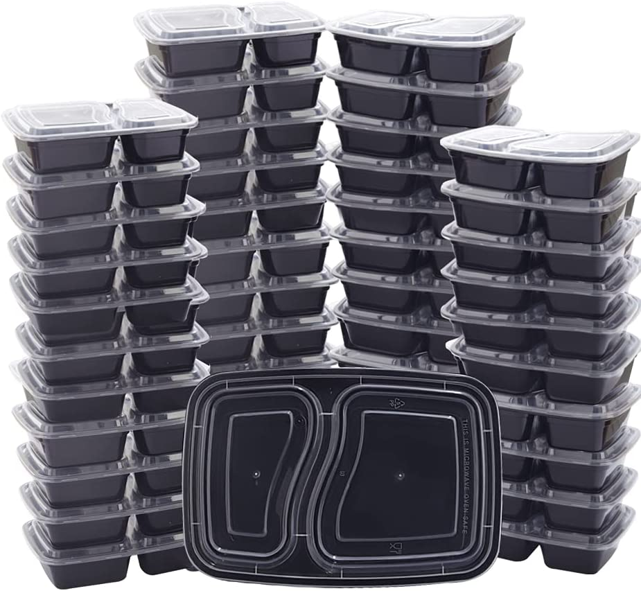 THALIA 50pcs Meal Prep Containers 32oz Food Storage Bento Box 2 Compartment Lunch Box with Lids Reusable Black Storage Container Microwave/Dishwasher/Freezer Safe BPA Free