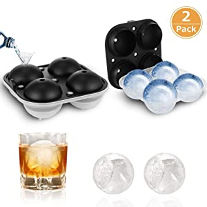 TGJOR Ice Cube Trays, Easy Release Ice Sphere Mold Tray with Silicone Lid, Large Square 2.5 Inch Ice Ball Maker for Whiskey, Cocktail or Homemade (Funnel Included) (two pack)