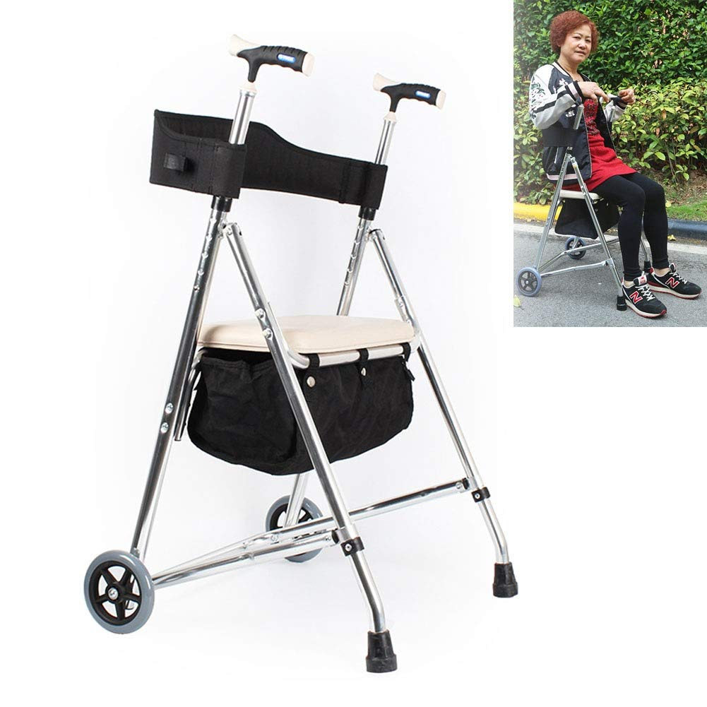 JLVNA Walking Aid Aluminum Four-Wheel Shopping Cart with Seat Light Walking Aid for Adult Travel by JLVNA