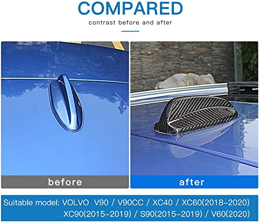 AIRSPEED Carbon Fiber Car Shark Fin Antenna Cover Aerial Decoration for Volvo XC60 XC90 S90 V90 V60 XC40 Accessories