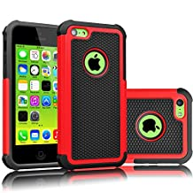 iPhone 5C Case, Tekcoo(TM) [Tmajor Series] [Red/Black] Shock Absorbing Hybrid Impact Defender Rugged Slim Case Cover Shell For Apple iPhone 5C Hard Plastic Outer + Rubber Silicone Inner