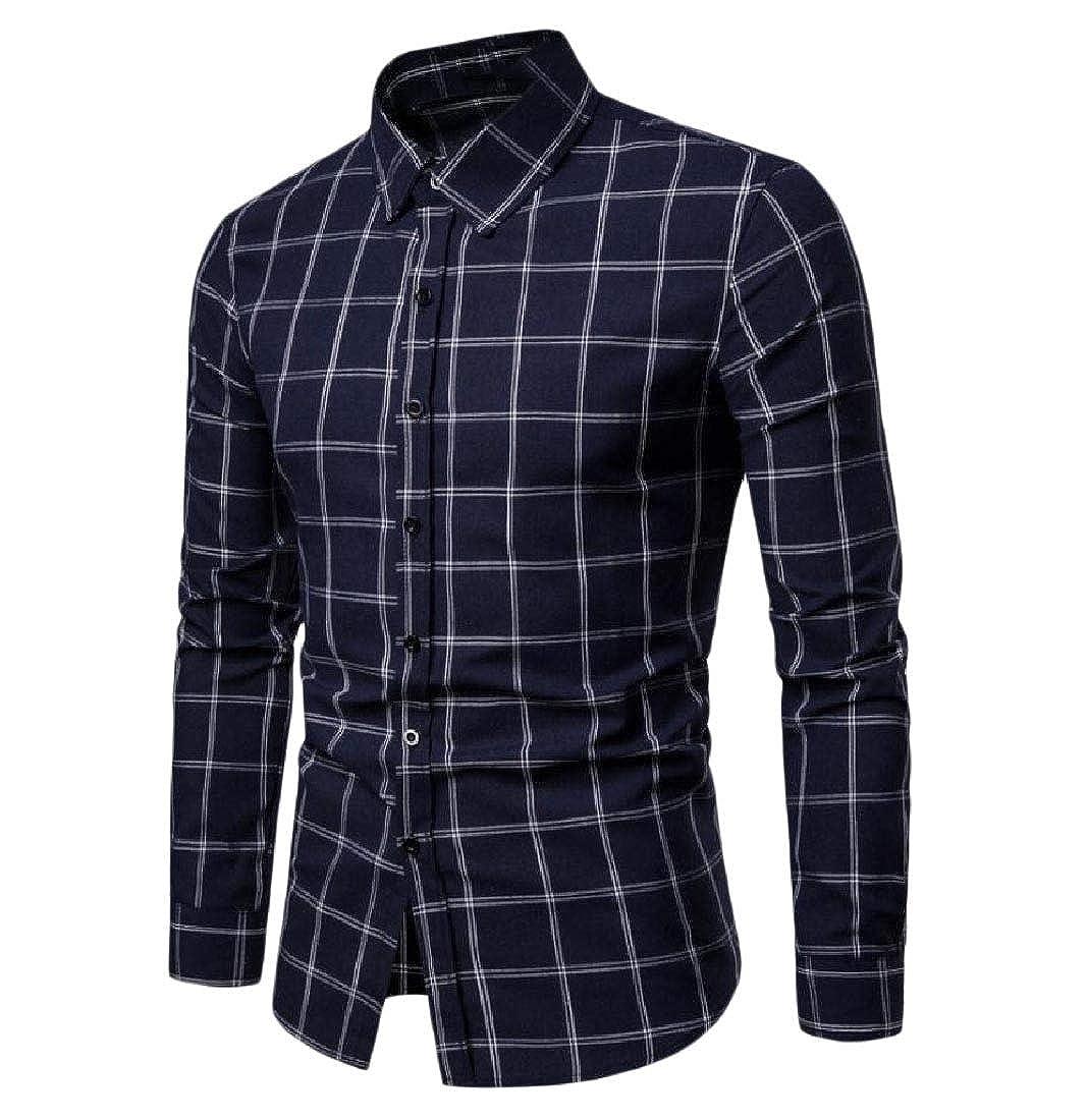 YUNY Men Outerwear Slim-fit Windowpane Tops Jacket Sport Shirt Navy Blue L