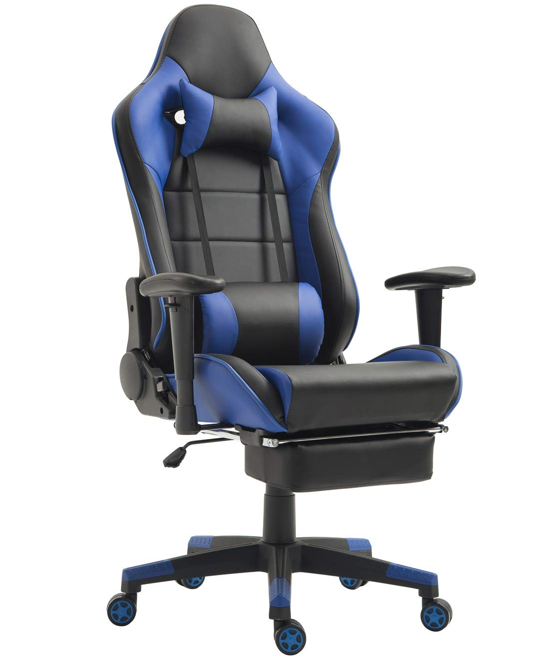 Gaming Chair with Footrest PC Computer Gamer Chair Video Game Racing Chair High Back Reclining Executive Ergonomic Office Desk Chair with Headrest Lumbar Support Cushion (Blue/Black with Footrest) by Tigo