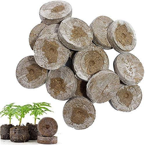Mscomft 50 stuks kokostabletten met voedingsstoffen gecomprimeerde peat pellet vezelbodem plantenzaden starter voor kweekkruiden planten bloemen en groenten