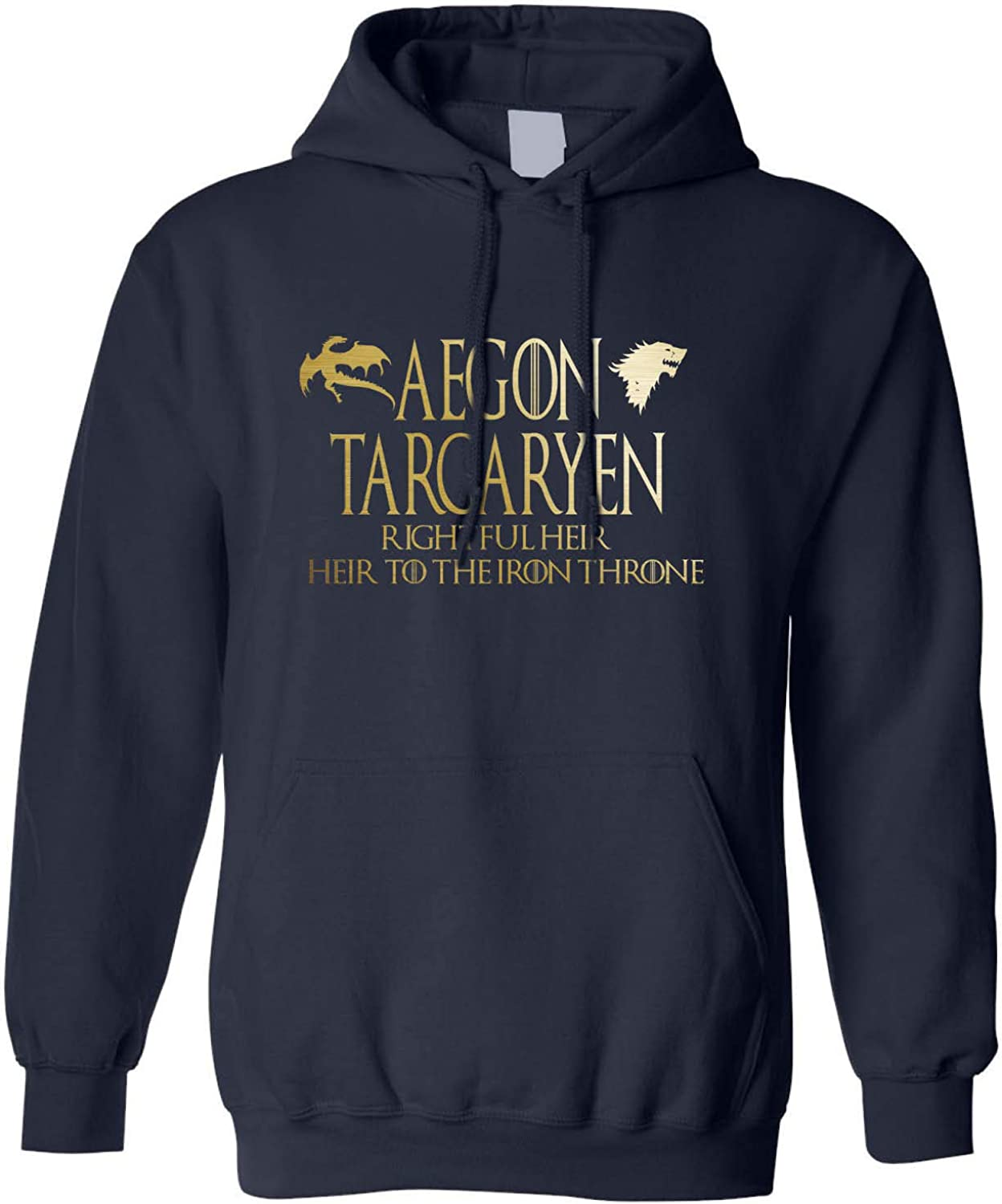 Allntrends Adult Hoodie Aegon Targaryen Rightful Heir Trendy Top Cool Stuff L, Navy Blue