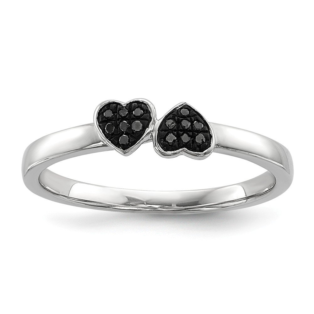 Sterling Silver Black Diamond Stackable Ring Size 7