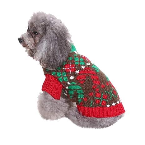 Zolimx Ropa para Perros, Navidad Mascotas Suéter Invierno ...