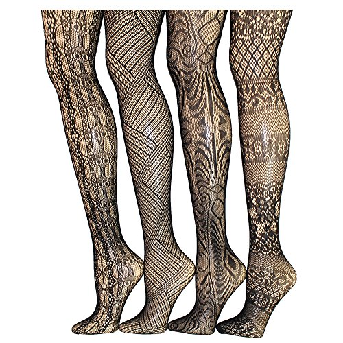 Frenchic Seamless Fishnet Lace Stocking Sexy Tights Extended Sizes (Pack of 4) (3X/4X, - Rose Pantyhose