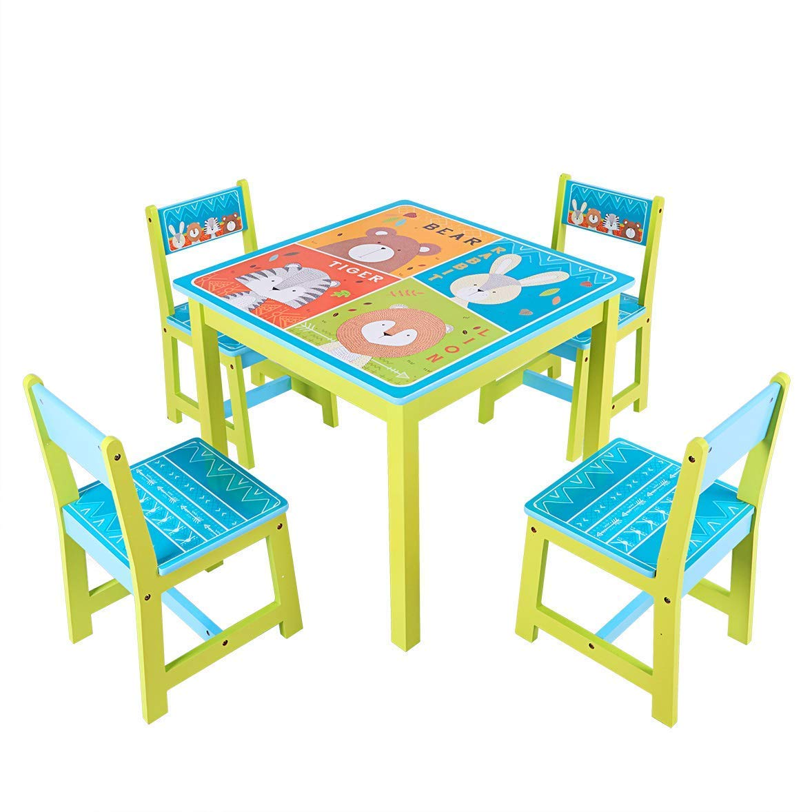 BABY JOY Kids Table and 4 Chairs Set, Wooden MDF Desk for Studying Playing Dining Indoors & Outdoors Activity, Toddler Baby Gift Desk Furniture Cartoon Pattern (Table and 4 Chairs) by BABY JOY (Image #2)