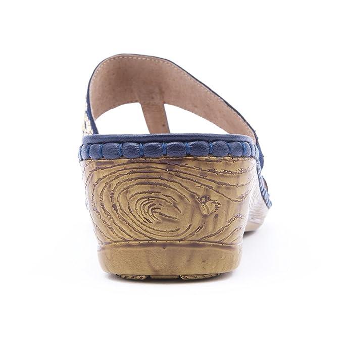 1ed0e690c7989f Ladies Caravelle Wide Fit Double Diamond Navy Flat Sandals Size 9   Amazon.co.uk  Shoes   Bags