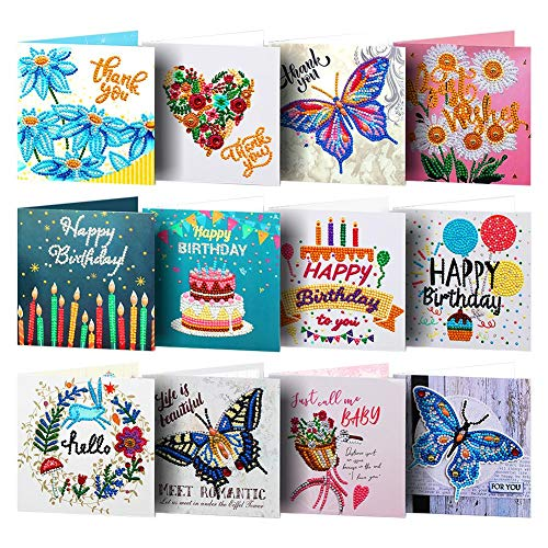 5D DIY Diamond Painting Round Drill Greeting Cards, Creative Christmas Card Holiday Birthday Thank You Card, 12 PCS Rhinestone Embroidery Arts Craft for Family, Friends, Lover