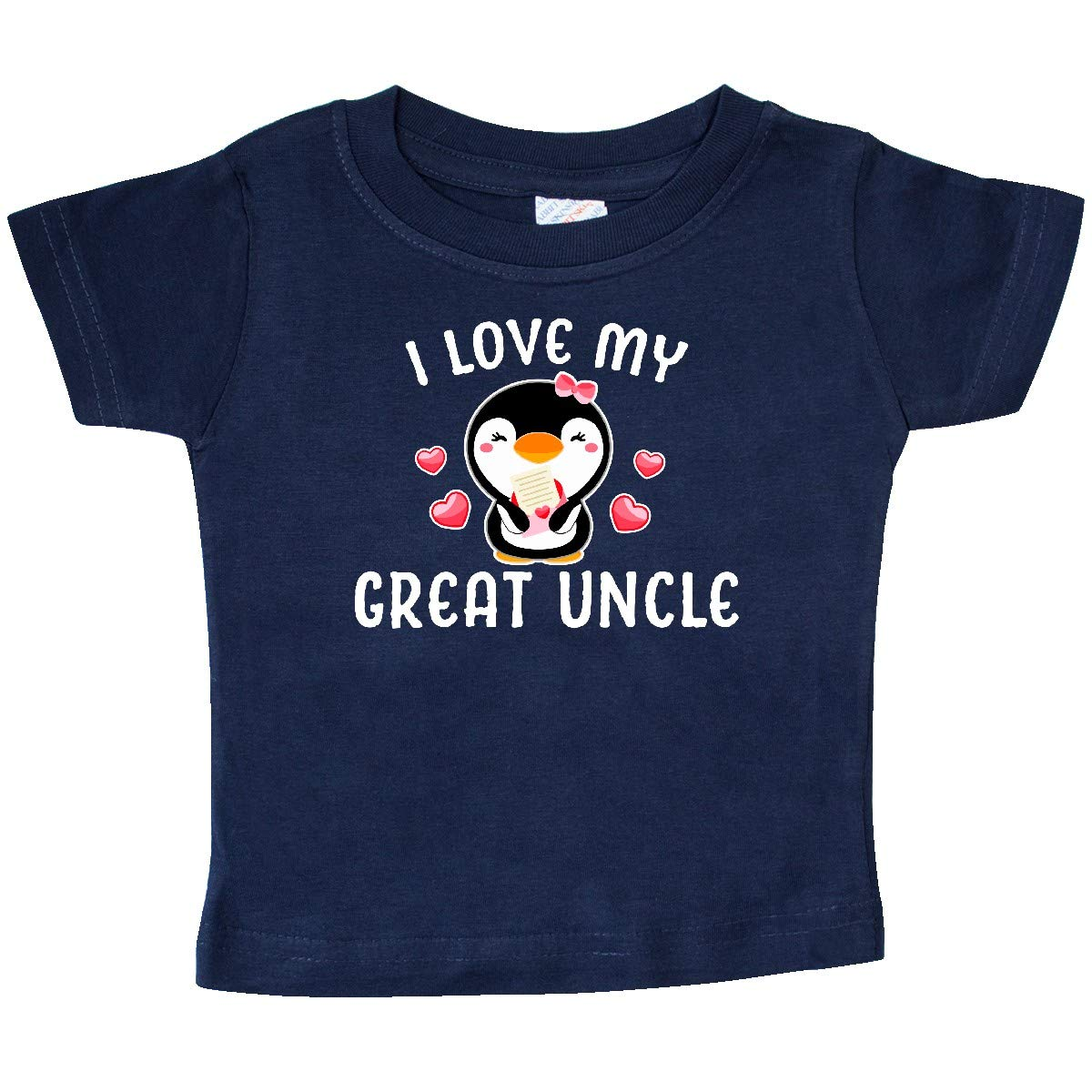 inktastic I Love My Great Uncle with Cute Penguin and Hearts Baby T-Shirt