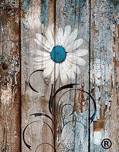 Blue Brown Rustic Modern Wall Art, Daisy Flower, Farmhouse Wall Decor, littlepiecreations USA Original Photo Artwork, 8
