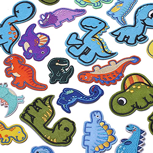 TACVEL 26Pcs Dinosaur Iron on Patches for Kids Clothing, Dinosaur Theme Embroidered DIY Sew on Patches for Jackets, Backpacks, Caps, Jeans to Decorate Clothes