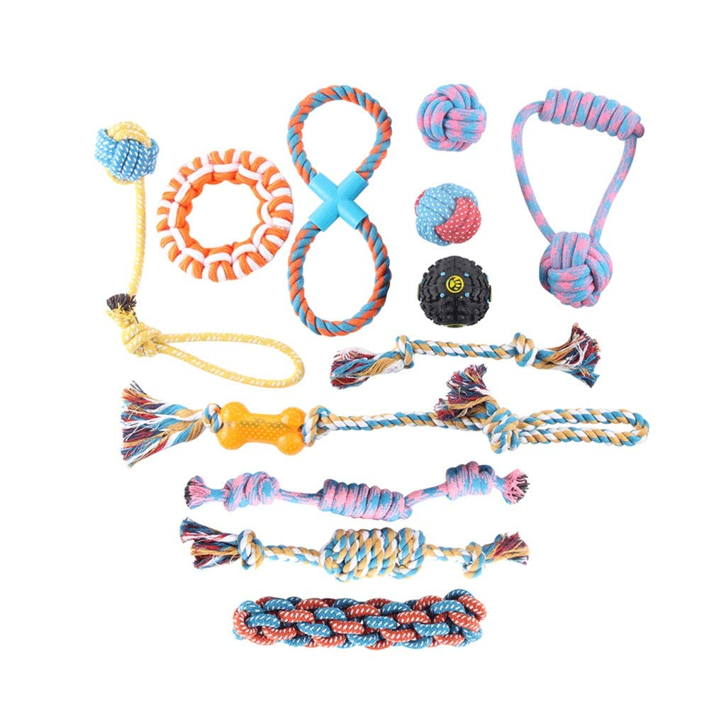 JIANXIN Pet Toy, Pet Hand-Woven Cotton Rope Toy 12 Combinations, Used to Give Pets A Bite, Suitable for Small and Medium Dogs and Cats