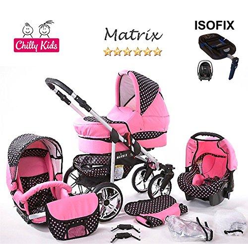 Chilly Kids Matrix II cochecito Safety de verano de Juego (sombrilla, Auto asiento & Base Isofix, protector de lluvia, mosquitera, ruedas giratorias) 23 Schwarz & Schwarz 44 Rosa & Rosa Punkte