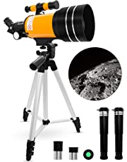 Space Astronomical Telescope, Uong Professional 150X 90X 45X Kids Telescopes 70mm Refractor Telescope for Kids with Tripod Educational Toys for Astronomy Beginners Children Educational