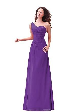 Bridal_Mall Damen Ein-Schulter Abendkleider Lang Chiffon Einfach ...
