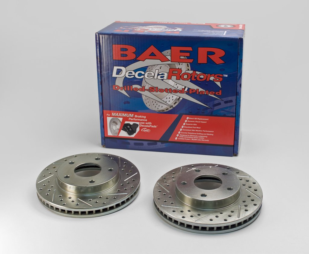 BAER 55047-020 Sport Rotors Slotted Drilled Zinc Plated Front Brake Rotor Set - Pair