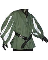 Mittelalter Landsknechthemd grün, Einsätze in weiß, Größen XS - XXXL